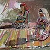 Uzbek women. 1971. Oil on cardboard.